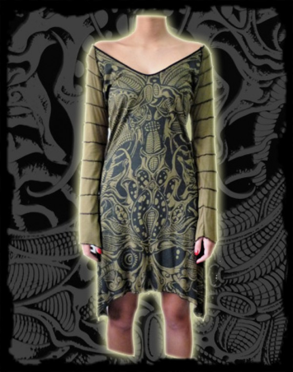 Athena Dress L/S Fullprint - Biomechanic Tribal print Nr. 224
